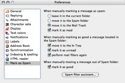PowerMail Spam Preferences